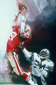 """The Catch"" 49ers Dwight Clark by Thomas Needham, acrylic"