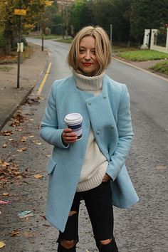 bluecoat and ripped jeans