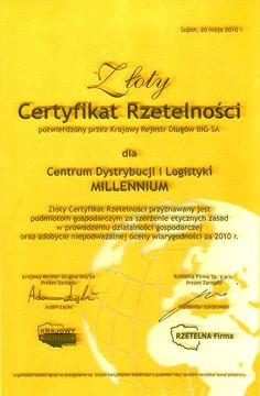 Złoty Certyfikat Rzetelności dla Centrum Dystrybucji i Logistyki Millennium