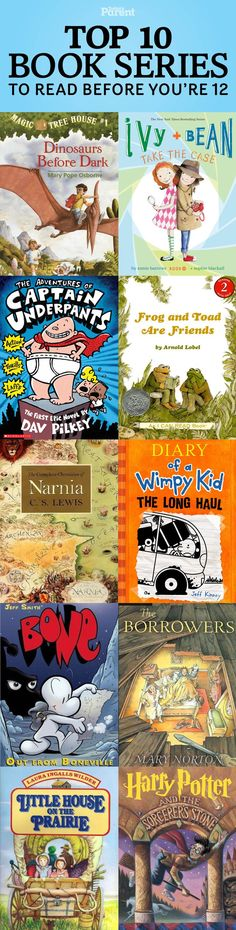 a reader: Top 10 book series to read before you're 12 Time for chapter books? These book series will hook young readers.Time for chapter books? These book series will hook young readers. Summer Reading Lists, Kids Reading, Reading Room, Books For Boys, Childrens Books, Books To Read, My Books, Wimpy Kid, Book Suggestions