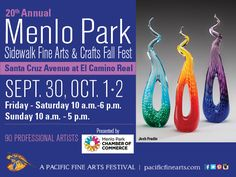 Sept 30, Oct 1 & 2, 10am-6pm Fri-Sat/10am-5pm Sun Menlo Park Sidewalk Fine Arts and Crafts Fall Fest is an art-filled family event giving visitors an opportunity to browse & shop among many one-of-a-kind creations displayed in charming downtown Menlo Park by a variety of talented artists. http://pacificfinearts.com #PacificFineArtsFestivals #FineArt #Festivals #VisualArt #LosAltos #MenloPark #BayAreaArtist