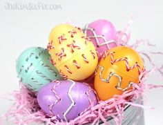 Baker's Twine Stitched Easter Eggs via TheKimSixFix.com