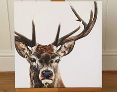 Stag painting - stag canvas print - stag art - stag picture
