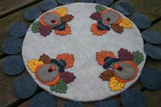 Turkey Penny Rug for Thanksgiving by hillsidebakery on #Artfire   Love the leaves as feathers.