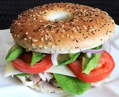 For the Love of Cooking » Turkey, Havarti, and Avocado Bagel Thin Sandwich