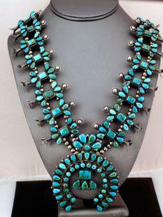 VINTAGE-Native-American-Zuni-BLUE-GEM-Turquoise-Silver-Squash-Blossom-Necklace