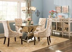 """Mirage 5-pc. 48"""" Glass Dining Set   Dining Sets   Raymour and Flanigan Furniture"""
