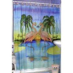 Tropical Home Decor Hand Painted Metal Flamingo Bathroom