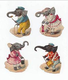 4 Victorian Die Cuts Elephant Drum Hoop Doll Dress Spade Anthropomorphic Scraps