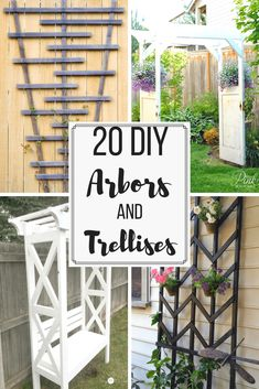 Urban Garden Looking for arbor or trellis ideas for your garden? Here are 20 amazing options to give your climbing vines the support they need to grow and thrive. These easy DIY trellis and arbor projects can have your garden looking amazing in no time! Clematis Trellis, Flower Trellis, Vine Trellis, Arbors Trellis, Garden Trellis, Deck Trellis Ideas, Porch Trellis, Bean Trellis, Diy Arbour
