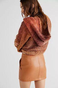 Maya Mod Vegan Mini Skirt | Free People Geometric Fashion, Mini Skirts, Turtle Neck, Vegan Leather, Maya, Zip Ups, Free People, Sweaters, Slim