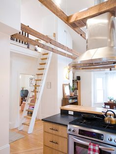 Dazzling Contemporary Attic Design Showing Minimalist Style : Bright Modern Kitchen Design Using Wooden Cabinet And Metal Chimney Addition  ...