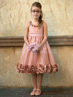 A-line Taffeta Knee-length Sleeveless Flower Girl Dresses