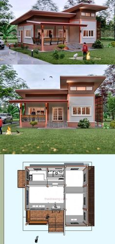Small House Concept with Modern Exterior look - Small House Plans - Small Modern House Plans, Modern Small House Design, Small House Exteriors, Small House Interior Design, Simple House Design, Tiny House Design, Small House Layout, 2 Storey House Design, Interior Modern