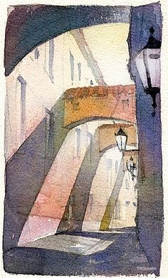 street- prague by Thomas W Schaller Watercolor ~ 11 inches x 7 inches