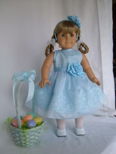 EASTER DRESS & BASKET American Girl and 18 by FabulousDollFashions, $18.00