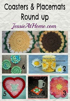 Coasters and Placemats ~ Crochet Pattern Round Up from Jessie At Home