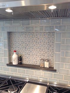 Julep Tile Company, Bloom Pattern and Subway Field Tile in Sky Blue Crackle. Thanks to Decorative Materials International and Alexa Interiors for the photos.