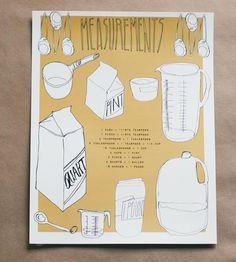 Equivalent Kitchen Measurements Art Print by Serif & Script on Scoutmob