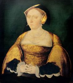Jane Seymour, wife to Henry VIII. Portrait painted in about 1536, by an artist from the 'Cast Shadow Workshop'.  Oil on panel. Collection of the Society of Antiquaries of London.