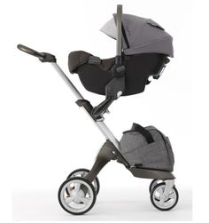 Nuna PIPA Infant Car Seat + Stokke Xplory Stroller in Black Melange with Stokke Maxi-Cosi/Nuna Car Seat Adaptors