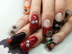 Halloween acrylic nails I love these & r my next set