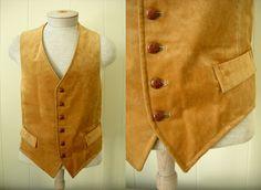 Vintage Men's Golden Velvet Vest / 40 by Rustology on Etsy, 26.00