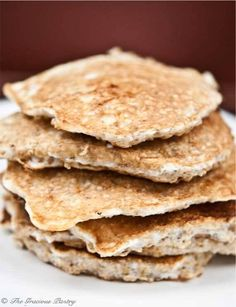 Clean Eating Protein Pancakes Recipe ~ http://www.thegraciouspantry.com