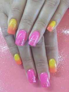 Yellow orange and pink gel polish Taken at:3/15/2014 12:53:26 PM Uploaded at:3/15/2014 10:06:21 PM Technician:Elaine Moore