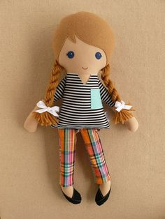 :: Crafty :: Sew :: Kiddo :: Fabric Doll Rag Doll Blond Haired Girl in Black and White Striped Shirt and Plaid Cropped Pants Doll Toys, Baby Dolls, Fabric Toys, Sewing Dolls, Soft Dolls, Diy Doll, Cute Dolls, Handmade Toys, Softies