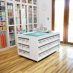 Sewing Room Ideas- Giant cutting table space with recessed storage