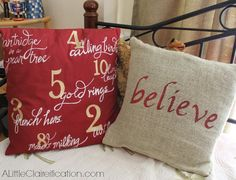 Hand Painted Christmas Pillows at ALittleClaireification.com #Holidays #Crafts #DIY