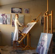 Jana Brike, artist born in Latvia, painting in her art studio Painting Studio, Painting & Drawing, Artist Art, Artist At Work, Art Easel, Dream Art, Light Art, Art Studios, Art Projects