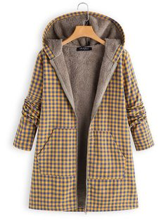 Thick Plaid Print Hooded Long Sleeve Casual Coat is hot sale on Newchic,here women Coats & Jackets with unbelievable discounts. Coats For Women, Jackets For Women, Outdoor Fashion, Mode Hijab, Coat Dress, Winter Coat, Winter Outfits, Winter Fashion, Fashion Outfits