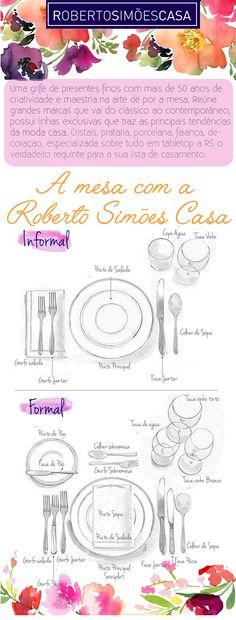 Mesas postas - Um aparelho de jantar  é fundamental para  arrumar a mesa perfeita para receber  em cada ocasião.