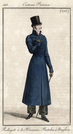 Costume Parisien 1818. Regency fashion plate.