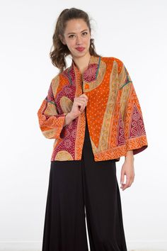 Cropped Jacket #10 by Mieko Mintz . This sumptuous, one-of-a-kind jacket makes not one, but two exquisite statements with its fully reversible design: each side captivates with the dramatic patternwork and stunning hues of vintage cotton saris. Sewn in New York from four layers of fabric pieced in India using traditional kantha quilting techniques. Clothes Crafts, Sewing Clothes, Coat Patterns, Clothing Patterns, Kimono Fashion, Boho Fashion, Chic Outfits, Fashion Outfits, Denim Crafts