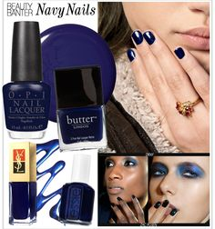 Navy nails are a great way to transition into fall, and they'll match your Grove outfit.
