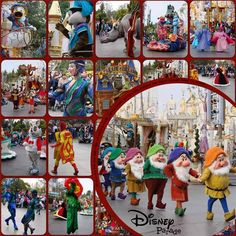 Love this Multiple Photo Page - Circle Focal Photo makes it pop! Disney Parade Picture Layout - Broken Link Pic Only #Photos #Scrapbooking #Layout #Disney #Vacation #Travel #Stash