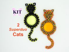 Kit to make 2 Superduo Cats. All beads and от ButterflyBeadKits