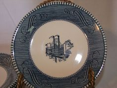 Royal China Currier and Ives Lot of 5 Saucers Steamboat Blue and White  #RoyalChina