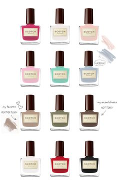 SCOTCH NATURALS - Non-toxic, eco-friendly water-based nail polish  SCOTCH NATURALS is the first non-toxic nail polish with a water-based formula. Scotch Naturals nail polish is vegan, cruelty-free, fragrance-free, toxin-free, hypoallergenic and biodegradable. AND it comes in 17 gorgeous colors! I love every single one! Available at scotchnaturals.com (US, $14.99 each) or allforeves.com (Germany, 14,99 € Stück).