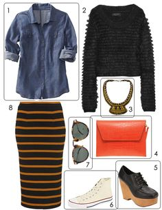 denim shirt + striped skirt staples with fun, textured and colored accessories