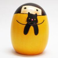 "Kokeshi ""My cat Kuro"" - Japanese doll - cute - kawaii"