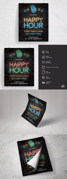 Happy Hour Neon Flyer Template PSD