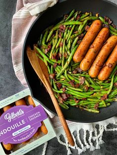 Gilbert's Andouille Chicken Sausage Spicy Green Beans & Bacon with Smoked Andouille Sausage – an easy recipe for and Spicy Green Beans, Green Beans With Bacon, Easy Meals For One, Chicken Apple Sausage, Healthy Plate, One Skillet Meals, Recipe Collection, Healthy Recipes, Easy Recipes