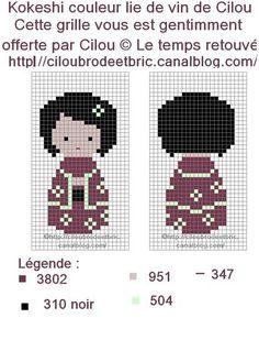 Free Kokeshi Cross Stitch Chart or Hama Perler Beads Pattern
