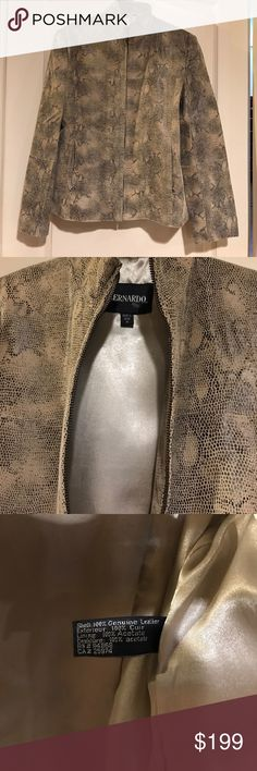 🆕 Bernardo beige black snakeskin leather jacket Absolutely stunning jacket brand new no tags. The perfect neutral colors for fall! Functional front pockets that zip up for closure. Full zip front. 100% genuine leather. Total steal! Won't last. Bernardo Jackets & Coats