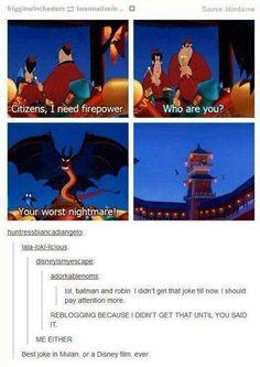 Batman and Robin appear in Mulan. Who knew Disney Pixar, Disney Fun, Disney And Dreamworks, Disney Magic, Punk Disney, Funny Disney Memes, Disney Jokes, Funny Memes, Hilarious