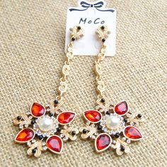Fashion Rhinestone Crystal Pendant Earrings